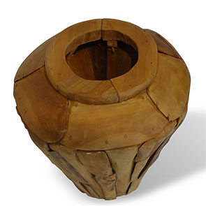 Teakholzvase Hendrik klein bauchige Form 45 cm hoch