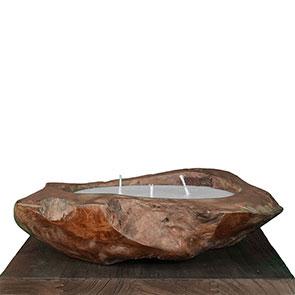 Teakholzschale mit Kerzenwachs gross - ca. 50 cm mit 3 Dochten