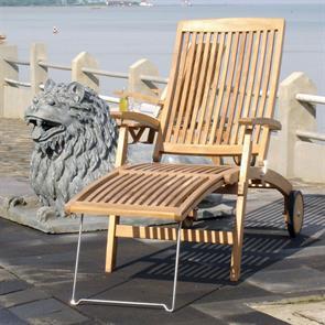 Comforteck Deckchair 171 x 65 x 116,5 cm Teak mit Edelstahlgestell