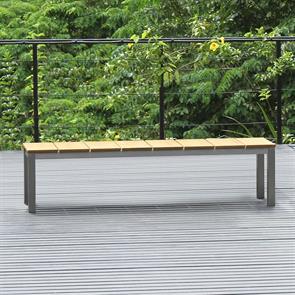 Fides Gartenbank ohne Rückenlehne 180 x 45cm Vintage Teak mit Edelstahl