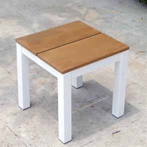 Fides Color Hocker/Beistelltisch 50 x 50 x 45 cm Teak mit Aluminiumgestell