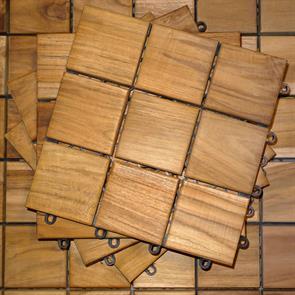 Terrassenfliese Teak 30x30x4cm  - bestehend aus 9 Teilen in der Grösse 10x10cm