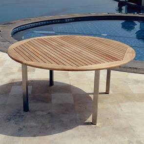 Florence runder Tisch 160 cm Teak mit Edelstahl