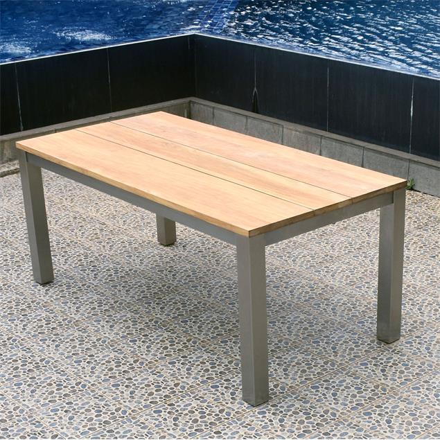 Planka Frontausziehtisch 250/180 x 90 x 77 cm Teak Grade A gebürstet mit Edelstahlgestell