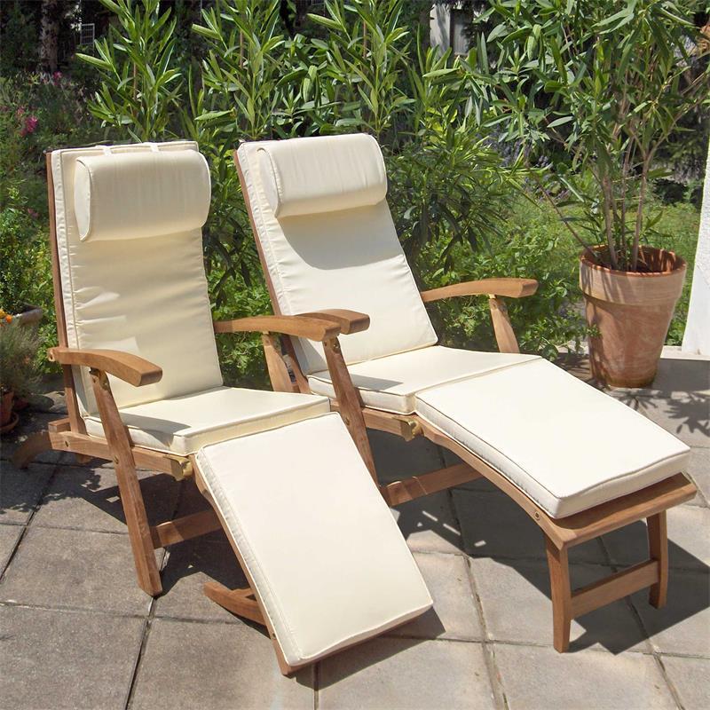 elegance deckchair 2er set inkl auflagen mit nackenkissen. Black Bedroom Furniture Sets. Home Design Ideas