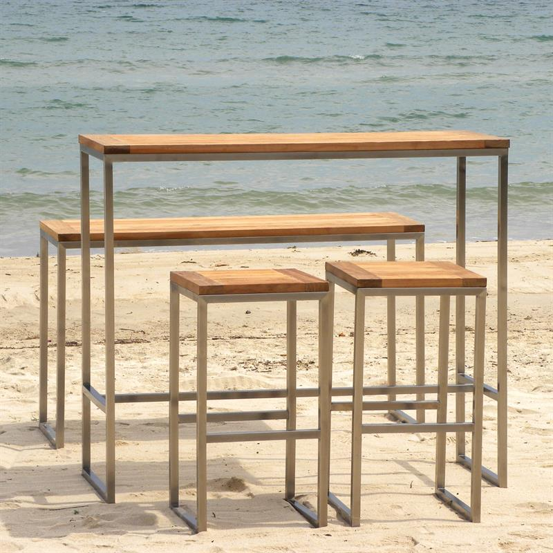 florence bar hocker teak mit edelstahlgestell. Black Bedroom Furniture Sets. Home Design Ideas